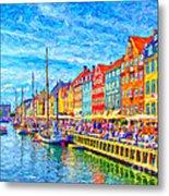 Nyhavn In Denmark Painting Metal Print