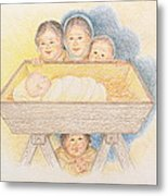 O Come Little Children - Christmas Card Metal Print