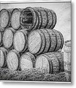Oak Wine Barrels Black And White Metal Print