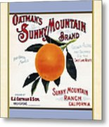 Oatmans Sunny Mountain Brand Oranges Vertical Metal Print