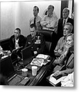 Obama In White House Situation Room Metal Print