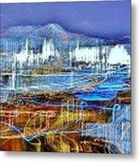 Ocean City Maryland At Night - Blue Metal Print