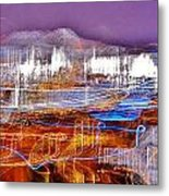 Ocean City By Night - Abstract Purple Metal Print
