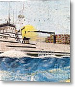 Ocean Olympic King Crab Fishing Boat Nautical Chart Map Art Metal Print
