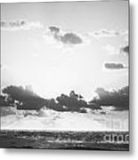 Ocean Sunrise Black And White Metal Print