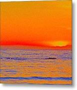Ocean Sunset In Orange And Blue Metal Print