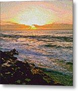 Ocean Sunset In San Diego Metal Print