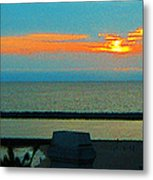Ocean Sunset With Birds Metal Print