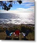 Ocean View At Pemaquid Point Maine Metal Print