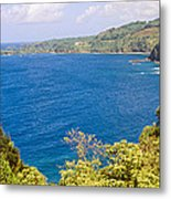 Ocean View From The Road To Hana, Maui Metal Print