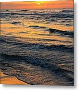 Beach Wave Sunrise Metal Print by Candice Trimble