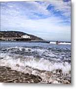 Ocean Waves Blue Sky And A Surfer At Malibu Beach Pier Metal Print