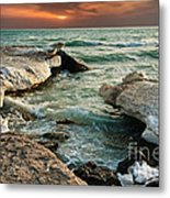 Ocean Waves Lapping At A Shoreline Metal Print