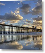 Oceanside Pier Sunset Reflection Metal Print