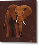 Ocre Elephant Metal Print