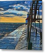 October Sunset At St. Joseph Lighthouse - Simulated Oil  Metal Print
