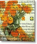October's Child Birthday Card With Text And Marigolds Metal Print