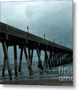 Oean Pier - Surreal Stormy Blue Pier Beach Ocean Fishing Pier With Seagull Metal Print by Kathy Fornal