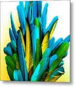 Yellow And Turquoise Metal Print by Paulette Maffucci