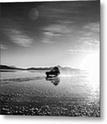 Off Road Uyuni Salt Flat Tour Black And White Metal Print