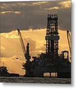 Offshore Rig At Dawn Metal Print by Bradford Martin