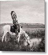 Oglala Indian Man Circa 1905 Metal Print by Aged Pixel