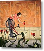 Oh A Pretty Flower - Funny Bmx Flatland Pic With Monika Hinz Metal Print