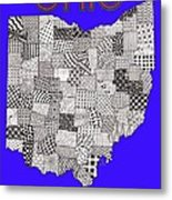 Ohio Map Blue Metal Print