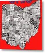 Ohio Map Red Metal Print