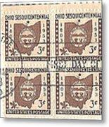 Ohio Three Cent Stamp Plate Block Metal Print