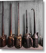 Oil Can Collection Metal Print by Debra and Dave Vanderlaan