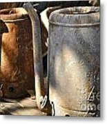 Oil Cans Picking Metal Print