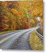 Oil Painted Country Road Metal Print