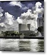 Oil Painting - Buildings Along The Waterfront In Singapore Metal Print