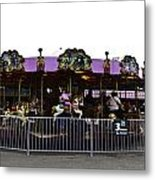 Oil Painting - Children And Adults At The Merry Go Round Inside The Blair Drumm Metal Print