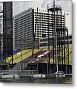 Oil Painting - Floating Platform And Construction Site In The Marina Bay Area Metal Print