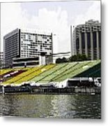 Oil Painting - Floating Platform In The Marina Bay Area In Singapore Metal Print