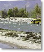 Oil Painting - Front Part Of School Bus In A Mountain Stream On The Outskirts Of Srinagar Metal Print