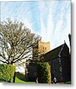 Oil Painting - Lighthouse And Church Inside Dover Castle Metal Print