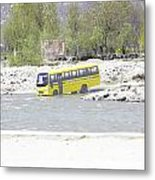 Oil Painting - School Bus In A Mountain Stream On The Outskirts Of Srinagar Metal Print