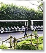 Oil Painting - Stationary Battery Powered Tourist Transport Vehicle Inside The Jurong Bird Park Metal Print