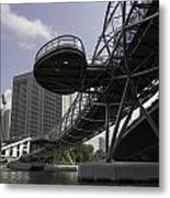 Oil Painting - The Bayfront Bridge And Helix Bridge In Singapore Metal Print