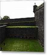 Oil Painting - The Depth Of The Moat Now Covered With Grass At Stirling Castle Metal Print