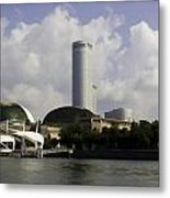 Oil Painting - The Swissotel Is A Tall Hotel In Singapore Next To The Esplanade Metal Print