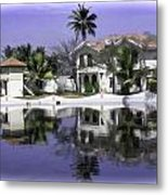 Oil Painting - View Of The Cottages And Palm Trees Metal Print