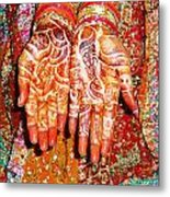 Oil Painting - Wonderfully Decorated Hands Of A Bride Metal Print