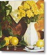 oil painting print of art for sale Golden Lemons  Metal Print