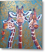 Oil Painting Of Three Gorgeous Giraffes Metal Print
