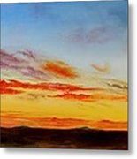 Oil Painting - When The Clouds Turn Red Metal Print