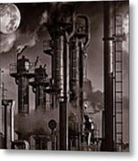 Oil Refinery With A Surreal Moonlight Metal Print